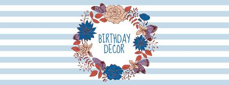 Birthday Decor Offer with Flowers Wreath Facebook coverデザインテンプレート