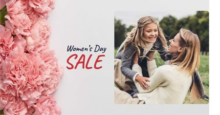 Women's Day Sale with Mother holding Daughter Facebook ADデザインテンプレート