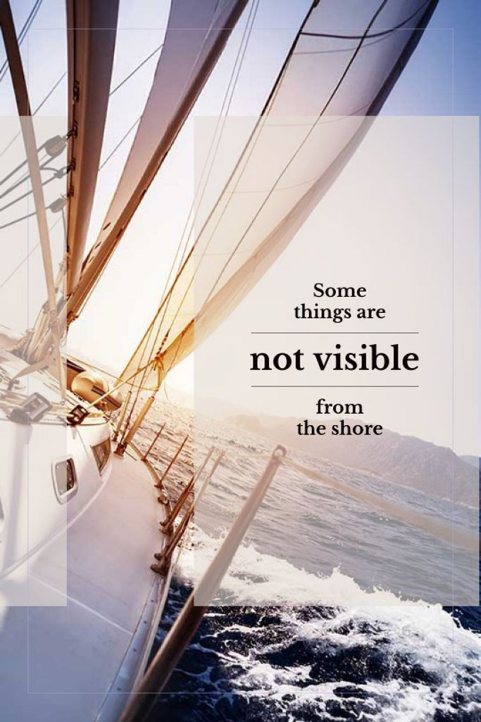White Yacht in Sea with Inspirational Quote — Maak een ontwerp