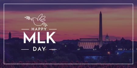 Modèle de visuel Martin Luther King Day Greeting with Washington - Image