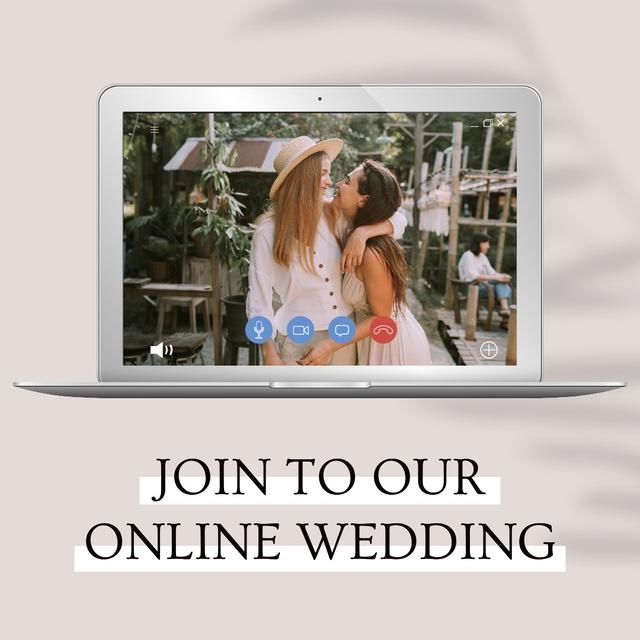 Modèle de visuel Online Wedding Announcement with Cute LGBT Couple - Instagram