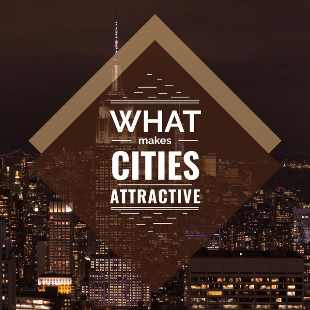 Designvorlage City Guide Night Skyscraper Lights für Instagram AD