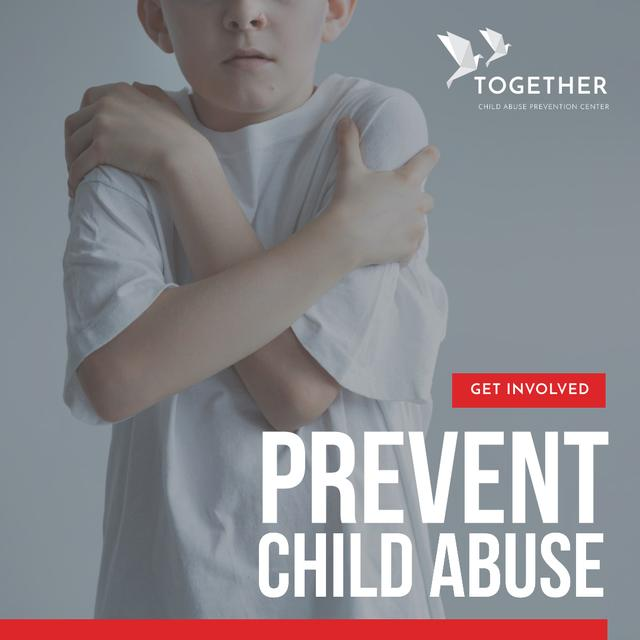 Template di design Child Abuse Awareness with scared kid Instagram AD