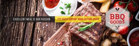 Template di design BBQ Food Offer with Grilled Meat Twitter