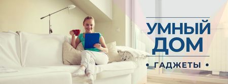 Smart home gadgets with Woman on sofa Facebook cover – шаблон для дизайна