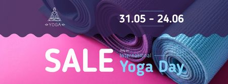 Special Yoga Day Offer with Row of mats Facebook cover – шаблон для дизайну
