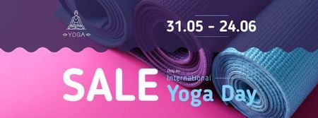 Ontwerpsjabloon van Facebook cover van Special Yoga Day Offer with Row of mats