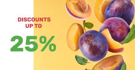 Designvorlage Grocery Sale fresh raw Plums für Facebook AD