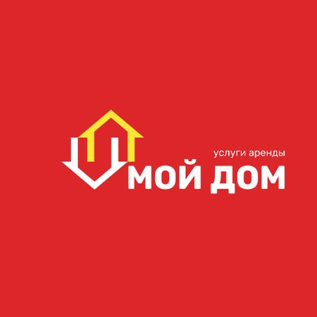 Real Estate Agency Ad with Houses Icon in Red Logo – шаблон для дизайна