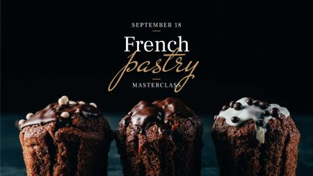 Pastry Masterclass with Sweet chocolate cakes FB event cover Design Template