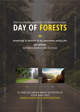 International Day of Forests Event Forest Road View Flayer Tasarım Şablonu