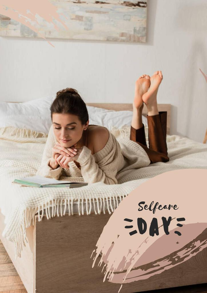Selfcare Day Inspiration with Woman in Bed Poster – шаблон для дизайна