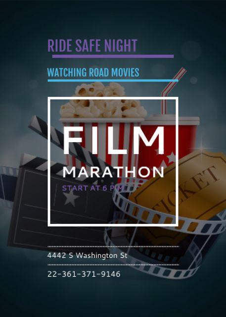 Ontwerpsjabloon van Invitation van Film Marathon Night with popcorn