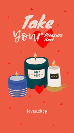 Ontwerpsjabloon van Instagram Story van Sex Shop Offer with Cute Aroma Candles