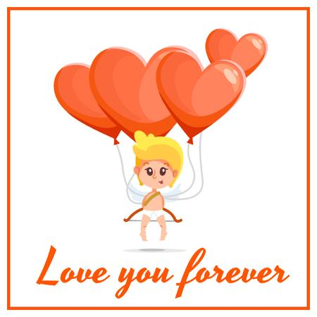 Cupid with heart Balloons on Valentine's Day Animated Post Tasarım Şablonu