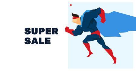 Designvorlage Sale Announcement with Superhero für Facebook AD