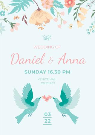 Wedding Invitation with Loving Birds and Flowers Poster Tasarım Şablonu