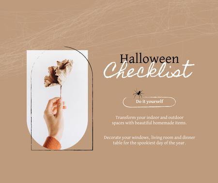 Designvorlage Halloween Preparation with Autumn Leaf in Hand für Facebook
