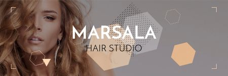 Ontwerpsjabloon van Email header van Hair Studio Ad with Woman with Blonde Hair