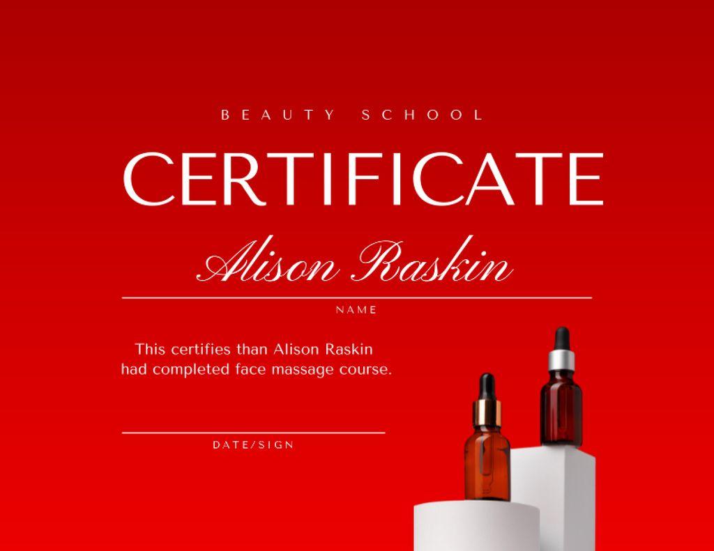 Modèle de visuel Beauty School Achievement Award with Cosmetic Oils - Certificate