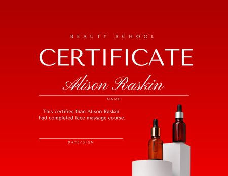 Beauty School Achievement Award with Cosmetic Oils Certificateデザインテンプレート