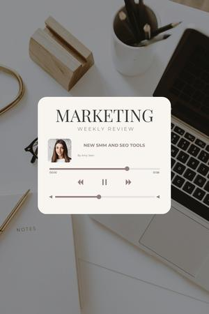 Podcast with Marketing weekly review Pinterest – шаблон для дизайна