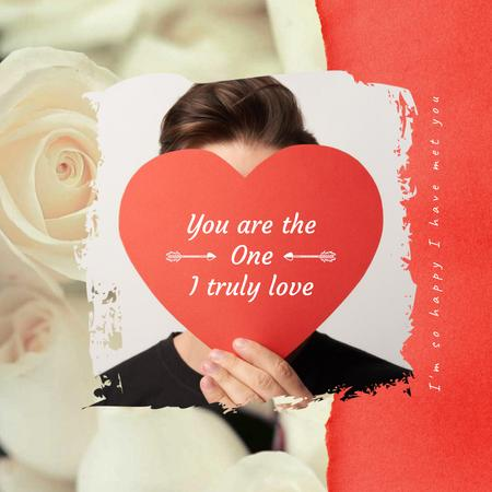 Plantilla de diseño de Young Man with Heart-shaped Valentine's Card Animated Post