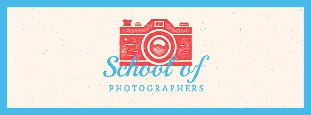 Plantilla de diseño de Photo School Ad Stamp of Camera Facebook cover