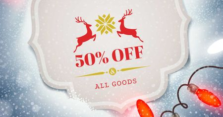 Christmas Discount with Deers and Garland Facebook AD – шаблон для дизайну