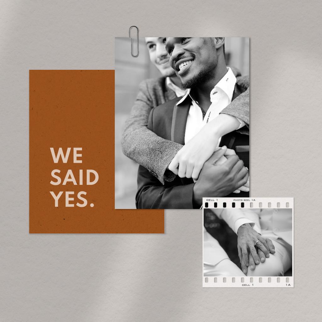 Designvorlage Wedding Announcement with happy LGBT couple holding hands für Instagram
