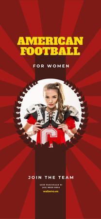 American Football Team Invitation with Girl in Uniform Snapchat Moment Filter – шаблон для дизайна