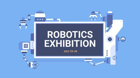 Plantilla de diseño de Robotics Exhibition Announcement on blue FB event cover