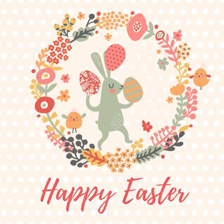 Easter Bunny with Colored Eggs in Flowers Frame  Animated Post Tasarım Şablonu