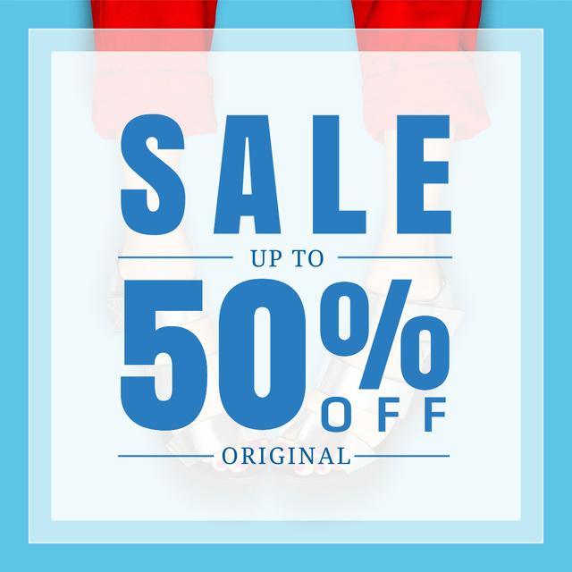 Designvorlage Female Shoes Sale in blue für Instagram AD