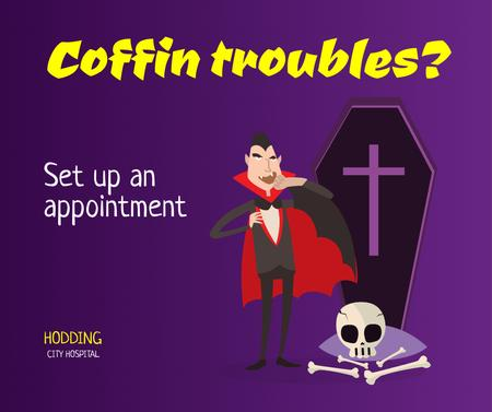 Funny Promotion of City Hospital with Dracula Facebook – шаблон для дизайна