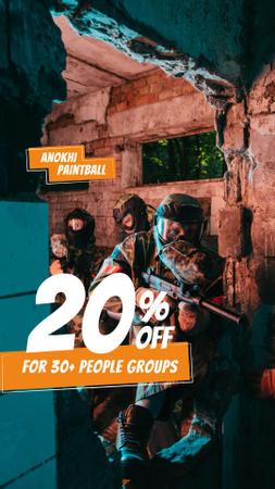 Plantilla de diseño de Paintball Club Ad with People holding Guns Instagram Story