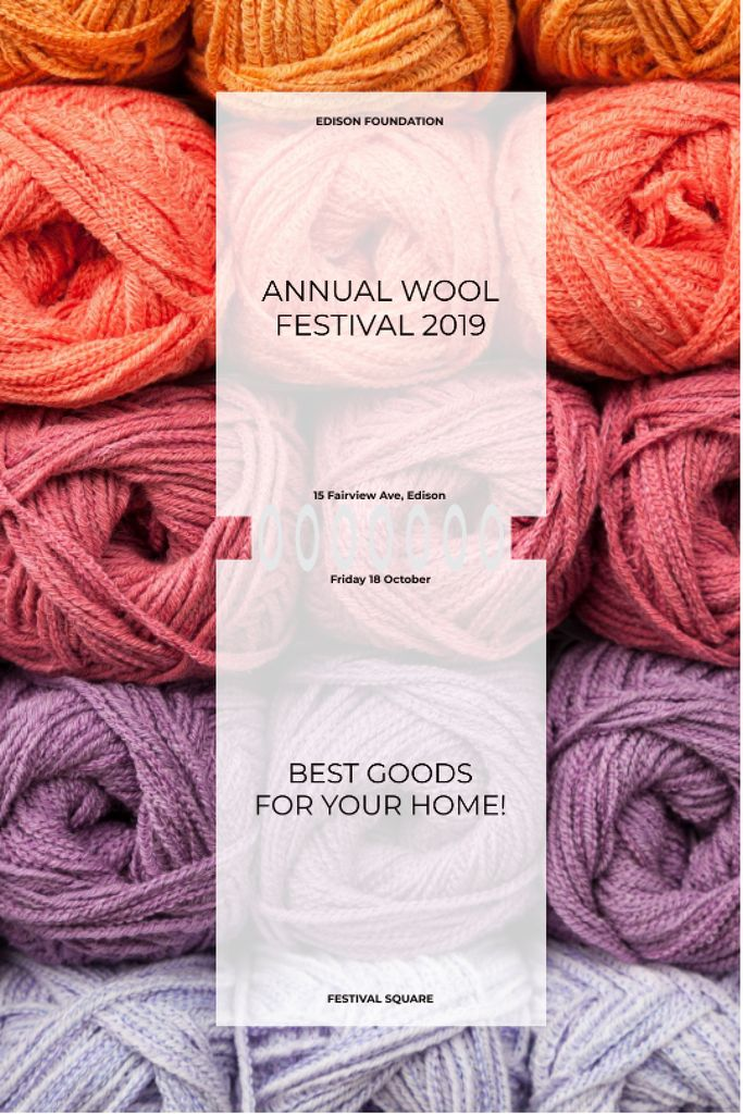 Knitting Festival Invitation Wool Yarn Skeins —デザインを作成する