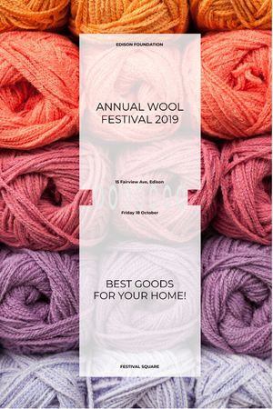 Knitting Festival Invitation Wool Yarn Skeins Tumblrデザインテンプレート