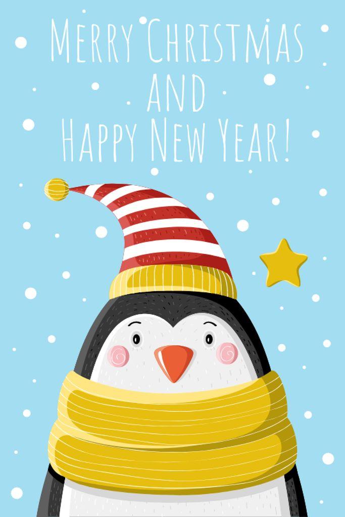Christmas Greeting Cute Penguin in Hat — Maak een ontwerp