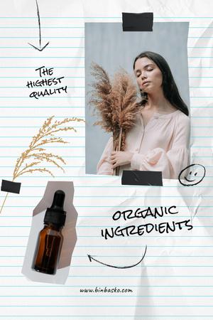 Plantilla de diseño de Cosmetic Oil Ad with Young Tender Woman Pinterest