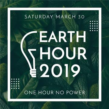 Earth hour event of green leaves