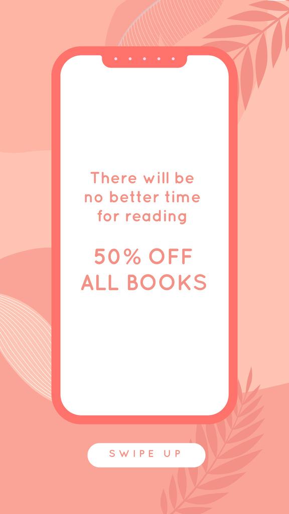 Plantilla de diseño de E-reading Offer on Pink Leaves backround Instagram Story