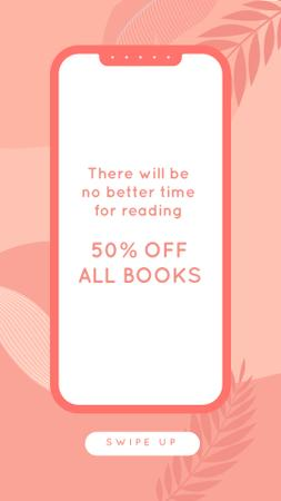 E-reading Offer on Pink Leaves backround Instagram Story – шаблон для дизайна