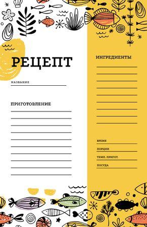 Cute Fish illustrations Recipe Card – шаблон для дизайна