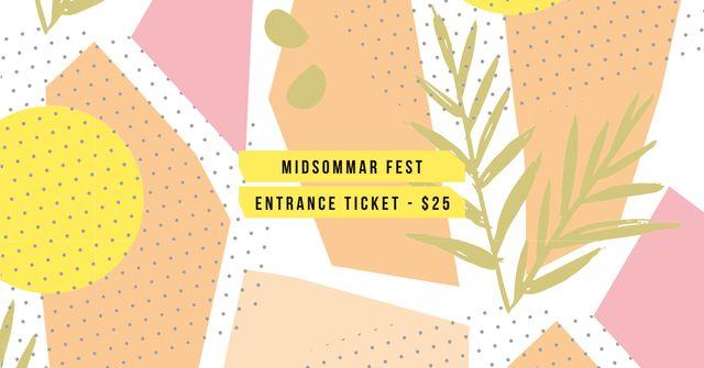 Ontwerpsjabloon van Facebook AD van Midsommar Fest Tickets Offer