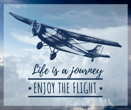 Designvorlage Motivational Quote Plane in Sky für Facebook