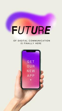 New App Ad with Smartphone in Hand Instagram Story Modelo de Design