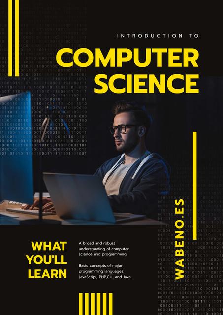 Modèle de visuel IT Courses Announcement with Man Typing on Laptop - Poster