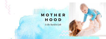 Plantilla de diseño de Mother's Day with Mom holding Baby Facebook cover