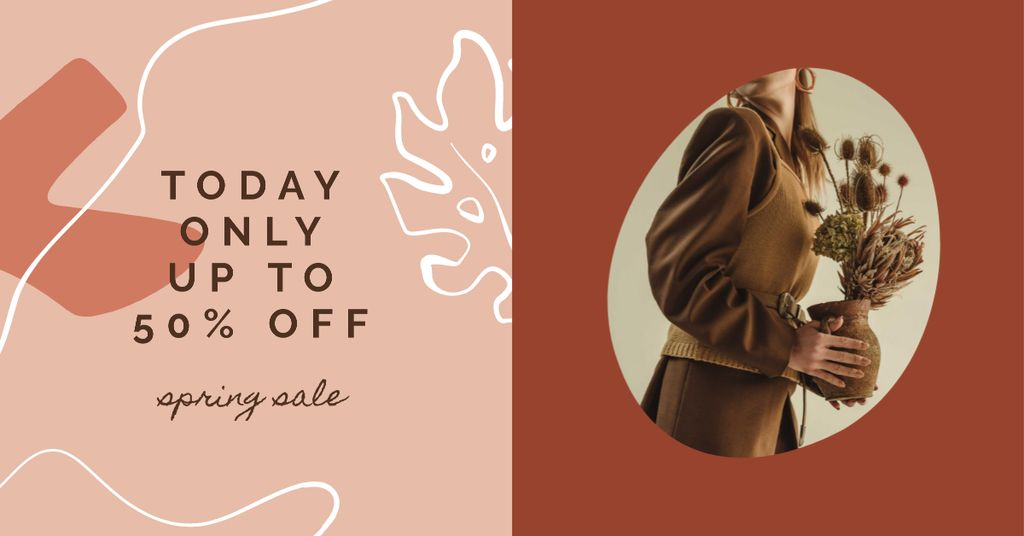 Stylish Woman with herbarium on Women's Day Facebook AD – шаблон для дизайну